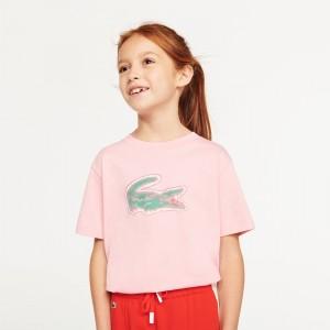 Girls Crocodile-Print Cotton T-shirt