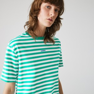 Womens Crew Neck Branded Striped Cotton T-shirt