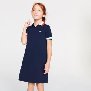 Girls' Colorblock Cotton Pique Polo Dress