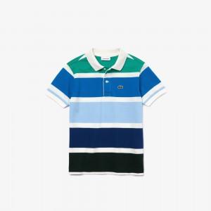 Boys Multicolor Striped Cotton Pique Polo