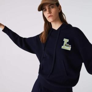 Womens Badge Hooded Wool Blend Sweater