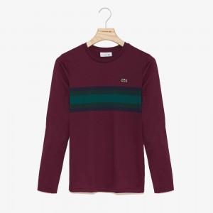 Womens Long Sleeve Multicolor Stripe T-Shirt