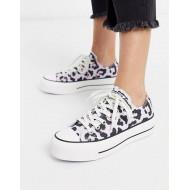 Converse Chuck Taylor Lo Lift Platform Lilac Leopard Print Sneakers