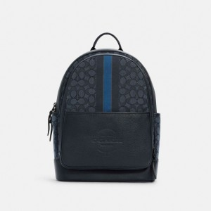 Thompson Backpack In Signature Jacquard With Varsity Stripe