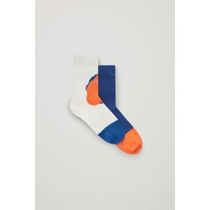 TWO PAIRS OF PRINTED ORGANIC COTTON SOCKS
