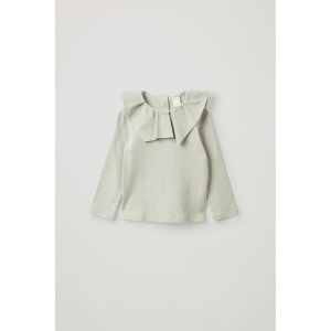 COTTON PLEATED COLLAR TOP