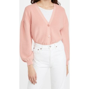 Cotton Pleat Sleeve Cardigan