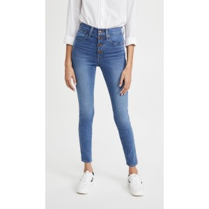 10 High Rise Skinny Button Front Jeans
