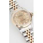 Ladies Rolex Champagne Diamond Dial, Fluted Bezel, Oyster Band