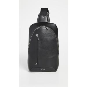 Mens Black Embossed Leather Sling Bag