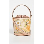 Robinson Embroidered Straw Bucket Bag
