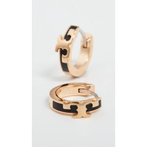 Serif-T Enamel Huggie Hoop Earrings