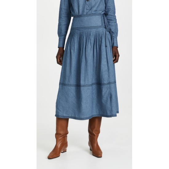 Chambray Tiered Skirt