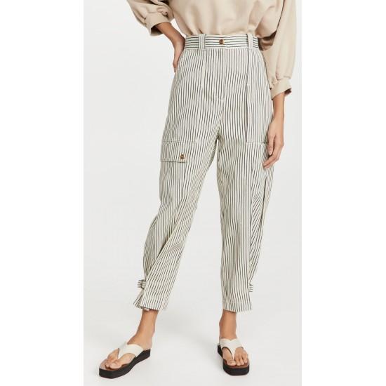 Striped Denim Cargo Pants