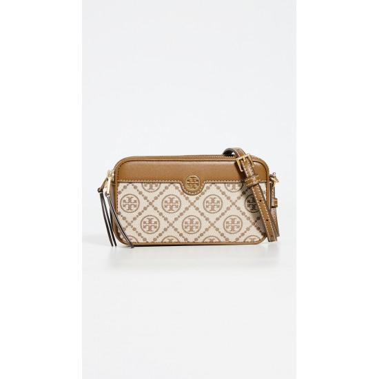 T Monogram Jacquard Double Zip Mini Bag