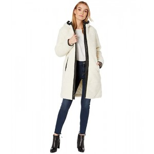 Levis Sherpa Hooded Coaches with Quilted Lining and Faux Leather Trim Cream