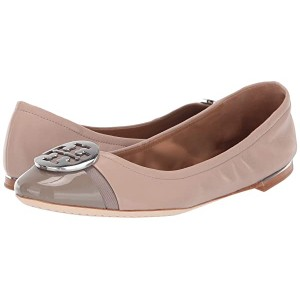 Tory Burch Minnie Cap-Toe Ballet Light Taupe/Gray Heron