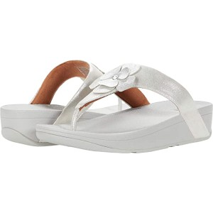 FitFlop Lottie Corsage Suede Toe Thong Silver