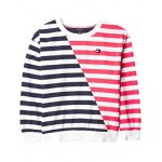 Tommy Hilfiger Kids Multi Stripe Crew Neck Sweatshirt (Big Kids) Navy Blazer