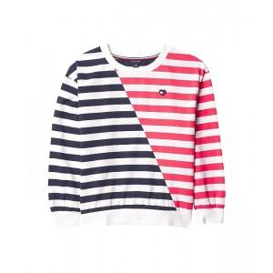 Tommy Hilfiger Kids Multi Stripe Crew Neck Sweatshirt (Big Kids) Navy Blazer