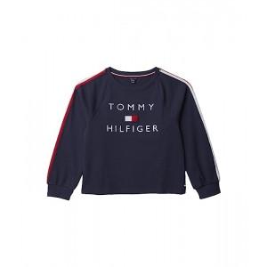 Tommy Hilfiger Kids French Terry Tommy Flag Crew Neck Sweatshirt (Big Kids) Navy Blazer