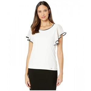 Calvin Klein Chiffon Top with Piping Soft White