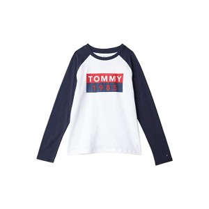 Tommy Hilfiger Kids Abstract Flag Long Sleeve T-Shirt (Bid Kids) Bright White