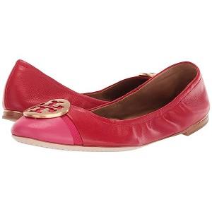 Tory Burch Minnie Cap-Toe Ballet Brilliant Red/Bright Azalea