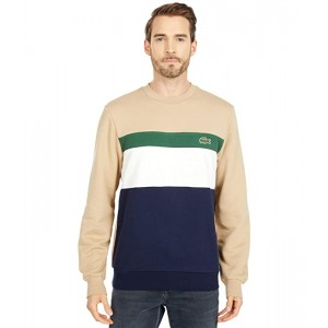 Lacoste Long Sleeve Color-Blocked Striped Crew Sweatshirt Navy Blue/Flour-Green/Viennese