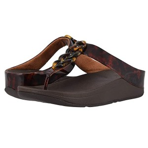 FitFlop Fino Tortoise Shell Chain Chocolate Brown Turtle/Chocolate Brown