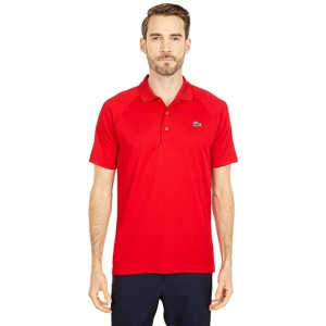 Lacoste Short Sleeve Sport Breathable Run-Resistant Interlock Polo Shirt Red