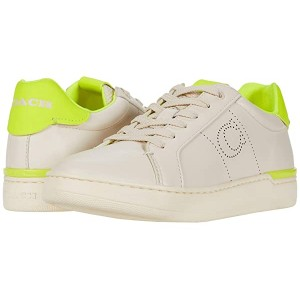COACH Lowline Low Top Chalk/Neon Yellow Smooth Leather