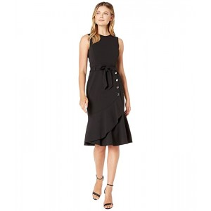 Calvin Klein Tie Front Dress with Flare and Buttons Black