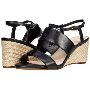 Cole Haan Arlta Espadrille Wedge Sandal Black Leather/Suede