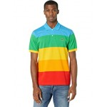 Short Sleeve Color-Blocked Rainbow Polaroid Polo
