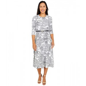 Calvin Klein Belted Paisley Print A-Line Dress Cream/Black