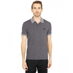 Tailored Slim Short Sleeve All Over Print Connect Dots Polo
