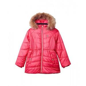 Tommy Hilfiger Kids Chevron Puffer Jacket with Faux Fur Hood (Big Kids) Raspberry Sorbet