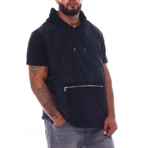 french terry short sleeve hooded top (b&t)