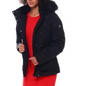twill heavy short jacket w/draw string inside waist fur trim hood spandex thumb hole cuff