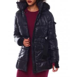belted hooded padded coat w/welt pockets