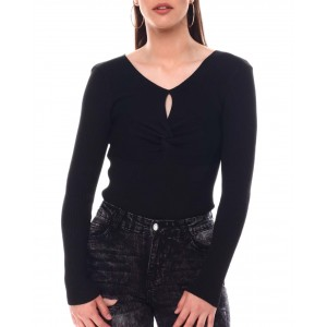 long sleeve ruched front top