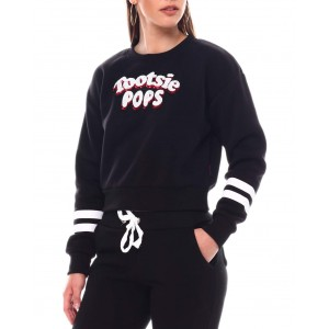 tootsie pop sequin patch cropped crew neck pullover