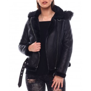 shearling faux leather jacket w/hoodie
