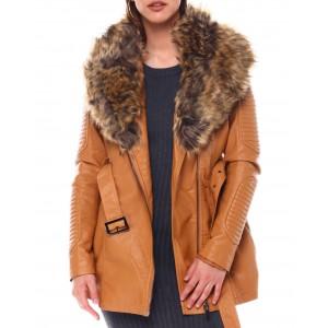 3/4 biker jacket w/fox fur