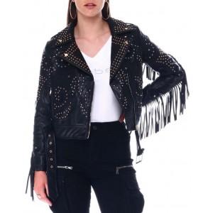 fringe studded biker jacket