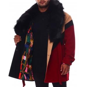 colorblock wool detachable fur collar long jacket (b&t)