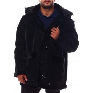 faux shearling long hooded jacket (b&t)