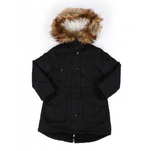 faux fur trim hooded parka jacket (4-6x)