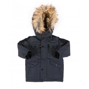 hooded parka jacket w/ faux fur trim (2t-4t)